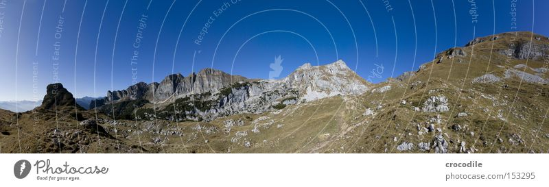 Vacation & Travel Snow Autumn Meadow Mountain Large Horizon Rock Climbing Alps Peak Austrian Alps German Alps Mountaineering Panorama (Format)