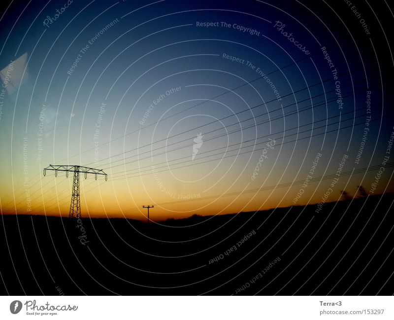 Sky Blue Red Calm Yellow Colour Dark Bright Moody Orange Field Electricity Cable Peace Steel cable Electricity pylon