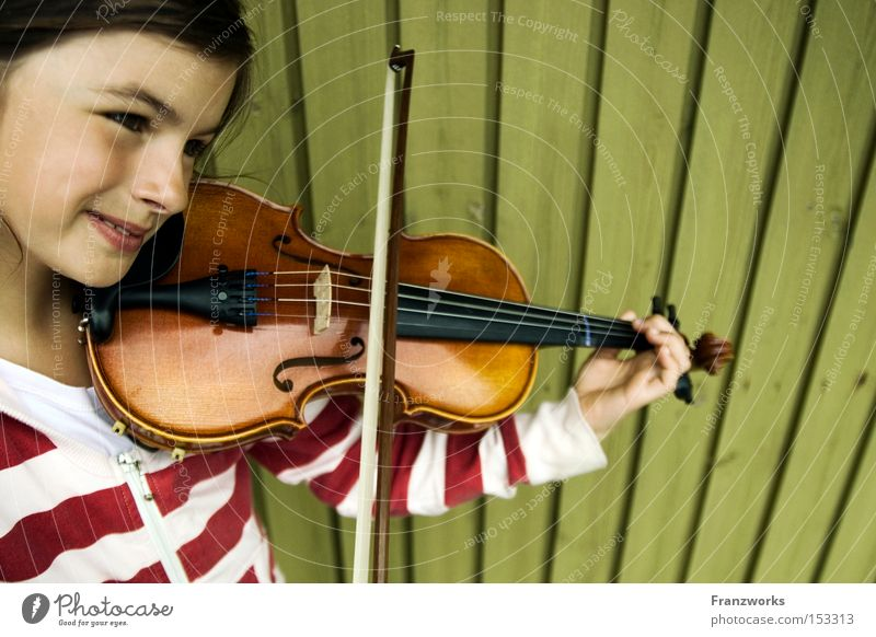 Child Girl Music Happiness Concert Listening Musical instrument Musical notes Violin Practice Arch Classical Make music String instrument