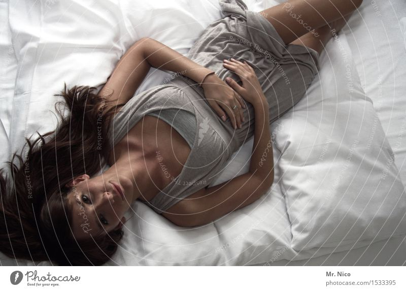 time-out Lifestyle Harmonious Well-being Contentment Relaxation Calm Living or residing Bed Bedroom Feminine Skin Cloth Brunette Long-haired Lie Beautiful