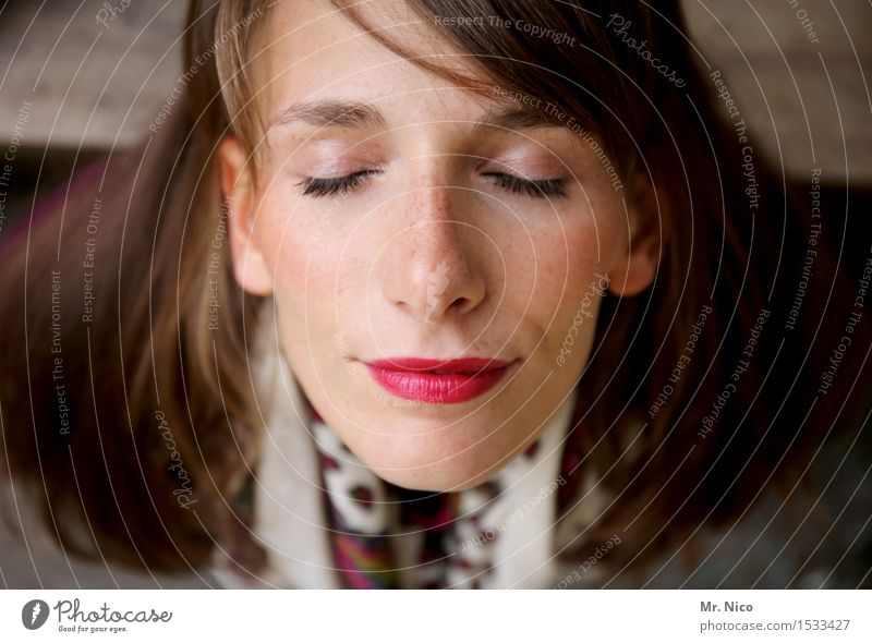 Switching boy | pause Lifestyle pretty Well-being Relaxation Calm Feminine Woman Adults Head Face Eyes Nose Mouth Lips Brunette Long-haired Dream Meditative