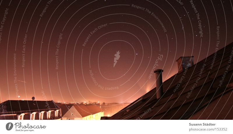 Sky House (Residential Structure) Window Lamp Stars Roof Image Chimney Starry sky Midnight Astrology Mittweida Signs of the Zodiac Mittweida district