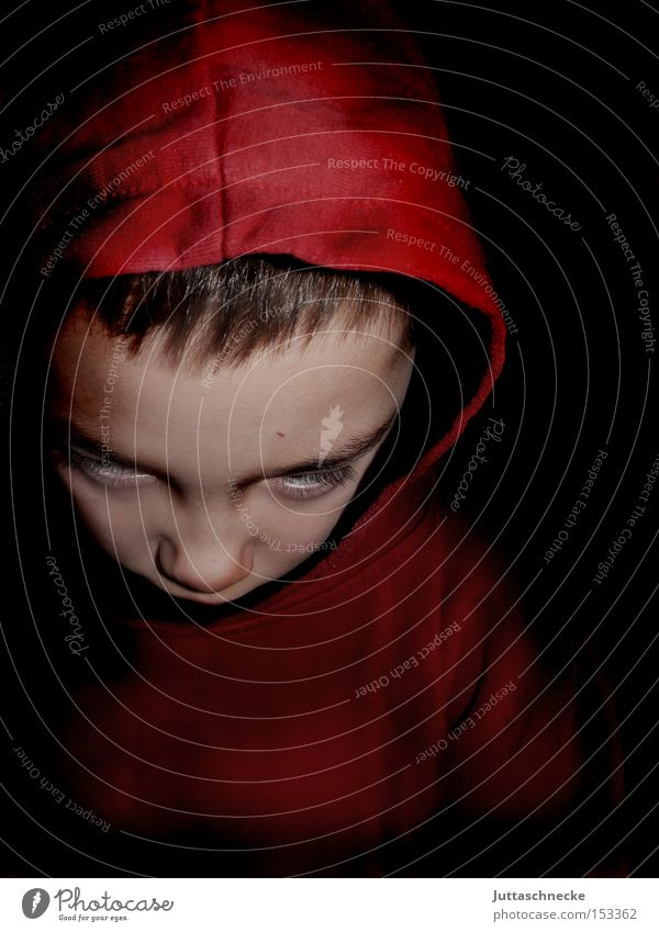 Child Red Boy (child) Infancy Concentrate Creepy Hooded (clothing) Eerie Extraterrestrial being Extraterrestrial