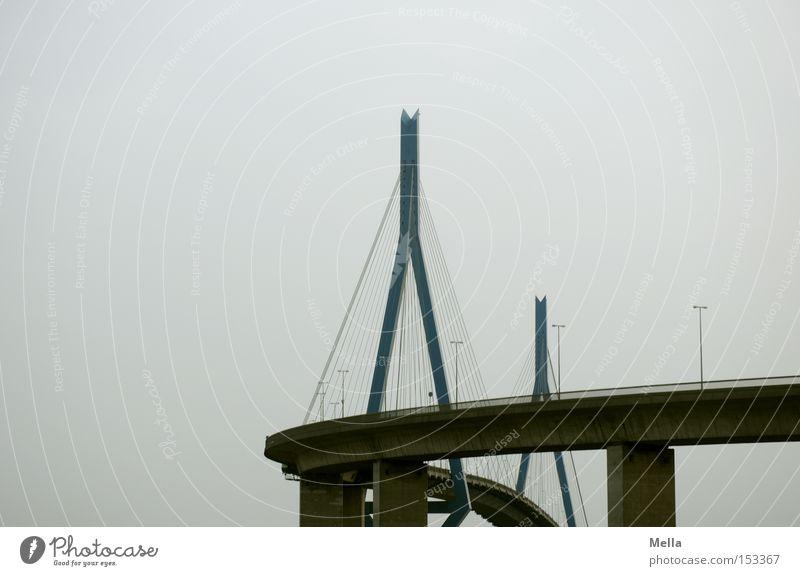 bridge Bridge Kohlbrand bridge Column Highway Hamburg Rope Round Curve Sky Gray A 7