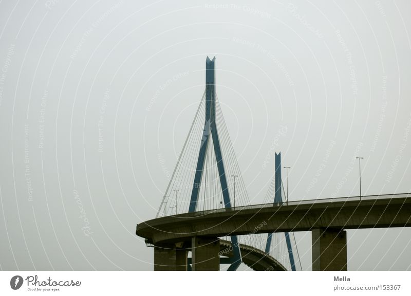 Sky Gray Rope Hamburg Bridge Round Highway Curve Column Kohlbrand bridge