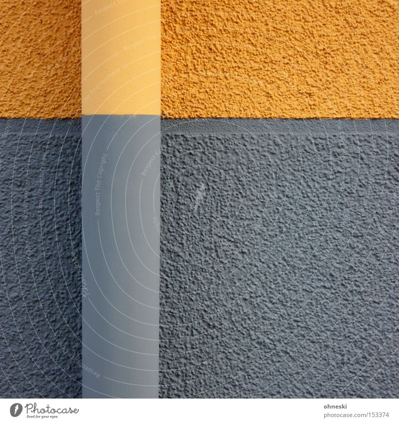 downspout Pipe Wall (building) Colour Painter Painting (action, work) Paintwork Gray Yellow Graphic Line Horizontal Vertical Detail Craft (trade)