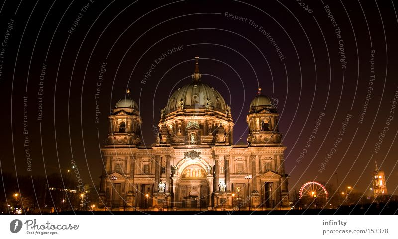 Berlin Cathedral at night Dome Christmas Fair Night Long exposure Dark Violet Art Historic Landmark Monument House of worship Tourist Attraction