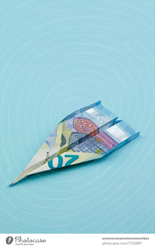 Euro plane number 20 Art Work of art Esthetic Euro symbol Euro bill Airplane Money Blue Financial Industry Financial Crisis Capitalism Capital investment