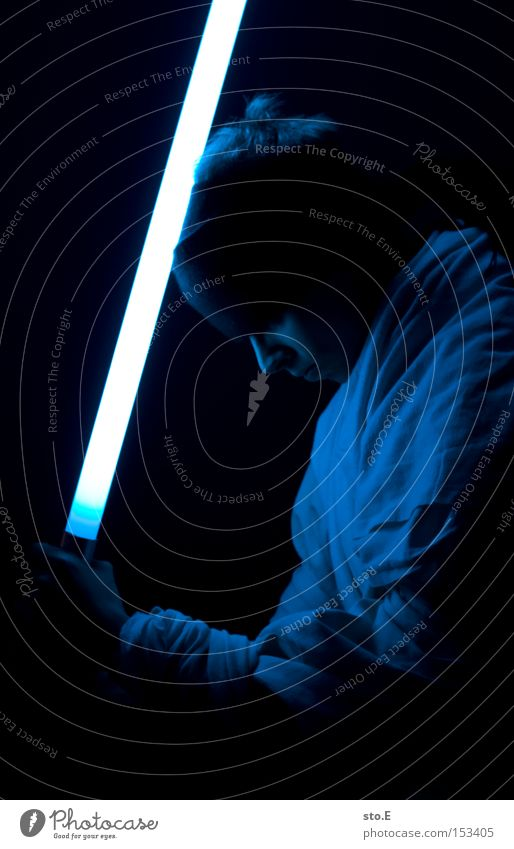 Jedi Knight Star Wars Laser sword Cape Science Fiction Blue Fighter Master Duel Film industry Dark Black Cinema Human being jedi obi-wan kenobi Might padawan
