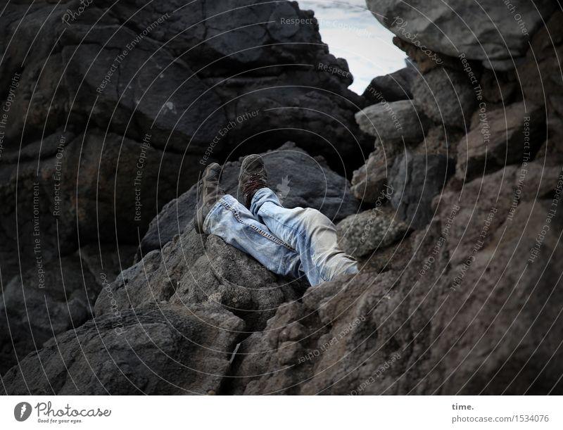 Schaltbubu | Special vacation Masculine Man Adults Legs Feet 1 Human being Environment Nature Landscape Rock Mountain Coast Jeans Footwear Stone To enjoy Lie