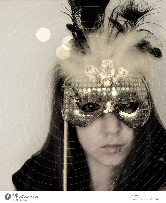 behind the mask Mask Yellow Feather Gold Face Carnival Noble Sequin Woman Hiding place