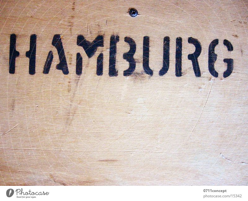 HAMBURG Crate Wood Typography Craft (trade) Hamburg Loudspeaker Characters