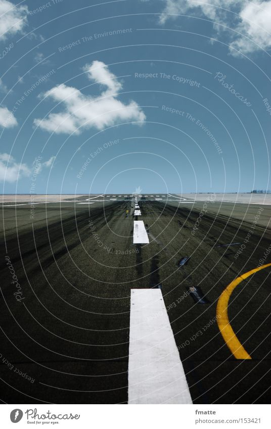 runway Runway Traffic lane Street Vacation & Travel Far-off places Sky Clouds Direction Target Airport