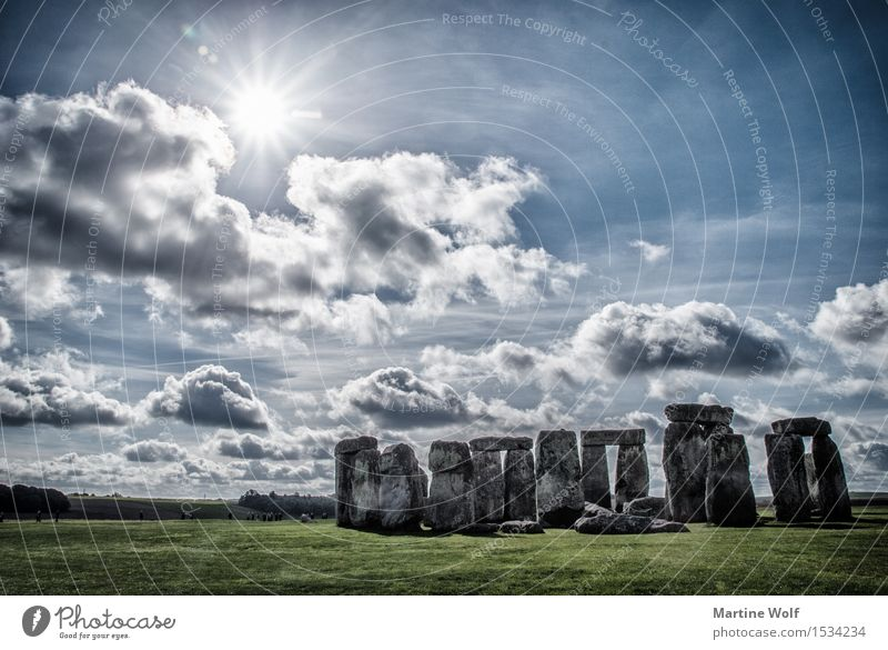 Stonehenge Nature Sky Clouds Sun Sunlight Vacation & Travel Great Britain England Stone circle Mystic Colour photo Exterior shot Deserted Copy Space left