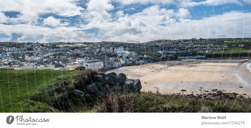 st. ives Landscape Clouds Beach Village Fishing village Tourist Attraction Vacation & Travel Cornwall England Great Britain St. ives Colour photo Exterior shot