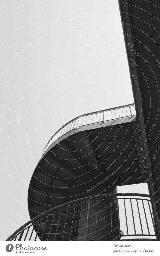 Shape.ung. Sky Bridge Stairs Transport Concrete Metal Line Esthetic Dark Gray Black Handrail Objectivity Black & white photo Exterior shot Deserted