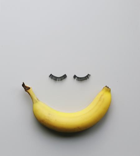 Miss Banana Food Fruit Nutrition Eating Feminine Accessory Emotions Moody Eyelash Funny Idea Smiling Laughter Sweet Snack Beautiful Yellow Creativity