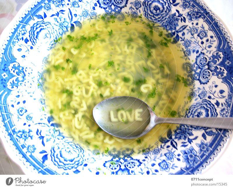 alphabet soup 4 lovers Alphabet soup Soup Noodle soup Spoon Delicious Plate Love Going Stomach Wholewheat Heart's content Midday Break Lovesickness Swabian Deep