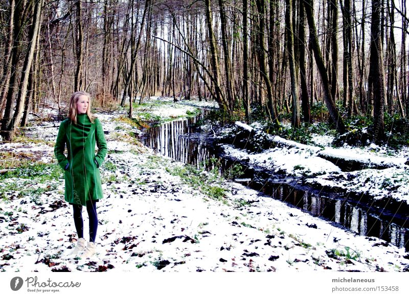 at the creek. Green White Snow Brook Coat Forest Dream Tree Winter Left Longing Beautiful