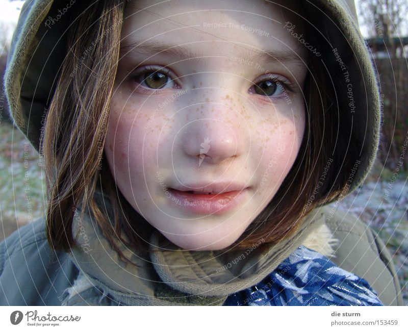 winter child Girl Portrait photograph Winter Hooded (clothing) Freckles Blonde Child pretty face Caucasian green eyes