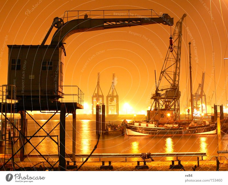 Water Orange Hamburg Industry Logistics Harbour Economy Trade Crane Goods Checkmark
