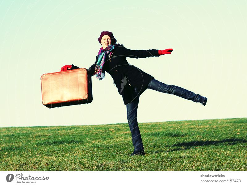 Woman Joy Vacation & Travel Meadow Freedom Leisure and hobbies Human being Suitcase In transit Acrobatics