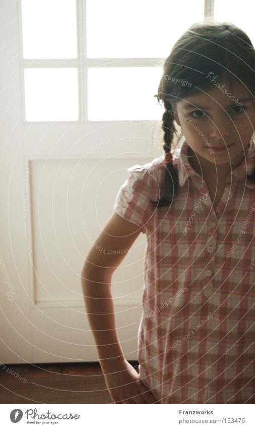 Child Girl Playing Power Force Sweet Strong Cute Brash Absurdity Self-confident Braids Pighead