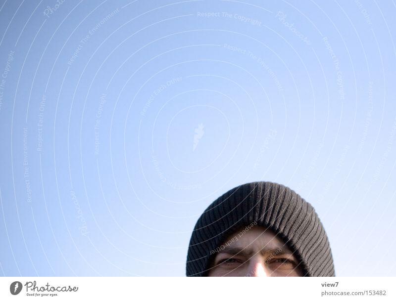 sky blue male Man Fellow Cap Looking Sky Eyes Dark Narrowed Blue Winter Joy