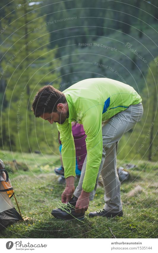 Man hiking Lifestyle Healthy Athletic Leisure and hobbies Vacation & Travel Tourism Camping Summer Mountain Hiking Sports Climbing Mountaineering Human being
