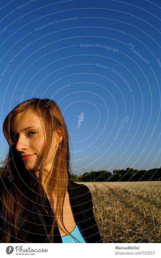 Woman Beautiful Sky Blue Joy Hair and hairstyles Field Nose Long Bleak Stubble field