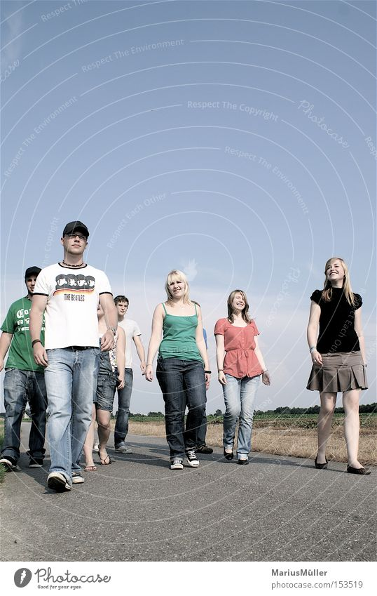 Youth (Young adults) Joy Friendship Field To go for a walk Asphalt German Flag Going