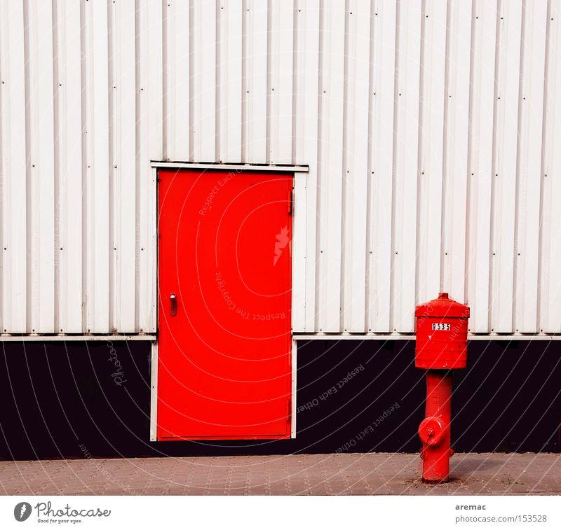 friends Red White Facade Fire hydrant Safety Blaze Water Detail Joy fire door Emergency exit Metal door
