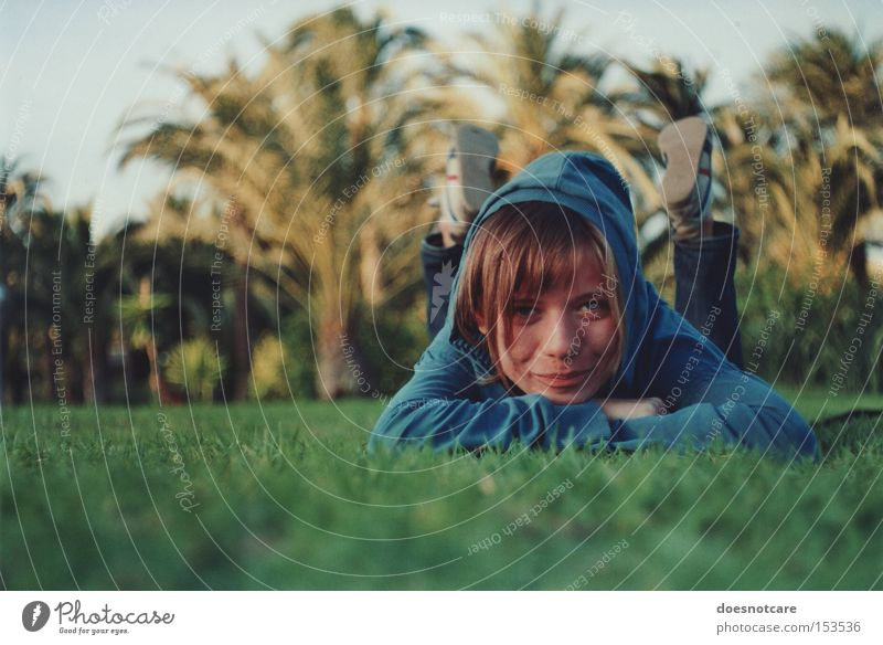 under spanish sun. Style Relaxation Summer Human being Feminine Young woman Youth (Young adults) Woman Adults 1 18 - 30 years Grass Palm tree Park Meadow