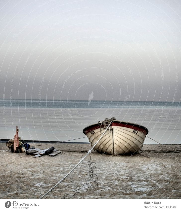 aground Relaxation Calm Fishing (Angle) Beach Ocean Island Winter Water Coast Baltic Sea Watercraft Blue Loneliness Transience quiet scene moored Cover Remote