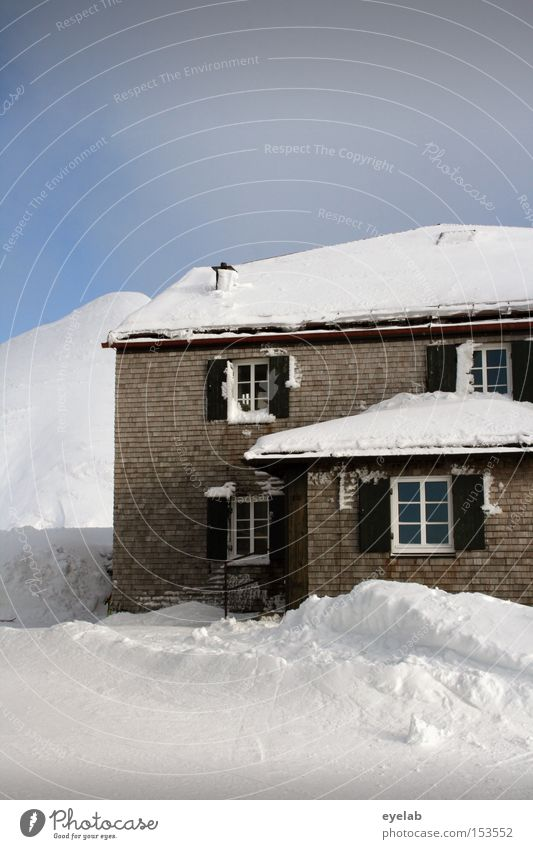 Sky White House (Residential Structure) Winter Cold Window Mountain Snow Building Living or residing Roof Alps Cozy Shutter Allgäu Domicile