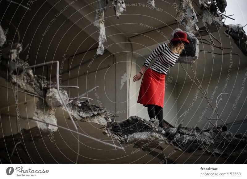retrospective outlook Decline Dismantling Hat Skirt Construction site Concrete Wire Broken Dangerous Looking Discover Edge Development Derelict Transience Woman
