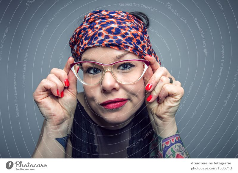 Nerdy Spectacled Snake Lifestyle Face Lipstick Human being Feminine Woman Adults Tattoo Eyeglasses Headscarf Looking Authentic Cool (slang) Brash Friendliness