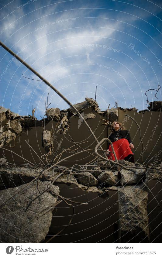 abysmal Decline Dismantling Hat Skirt Construction site Concrete Wire Broken Dangerous Looking Discover Edge Development Derelict Power Force Woman Advancement