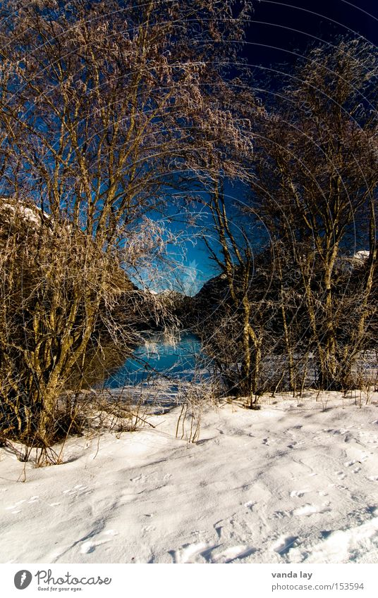 Nature Water Sky Blue Winter Loneliness Cold Snow Mountain Lake Landscape Environment