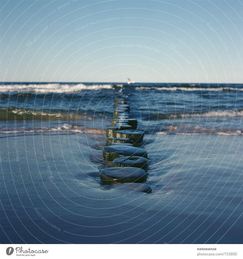 Ocean Blue Beach Vacation & Travel Wood Line Waves Medium format Scan
