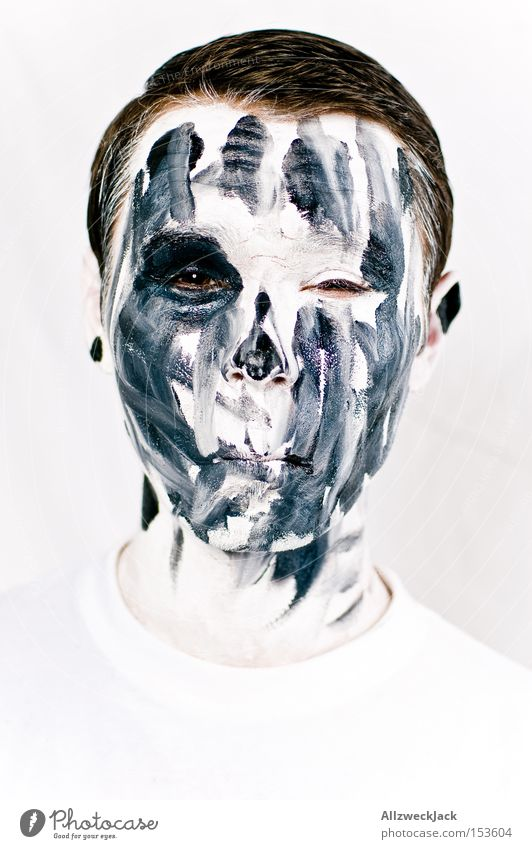 Welcome to the ghost train! Portrait photograph Face Man Painted Carnival White Black Creepy Zombie Ghosts & Spectres  Hallowe'en Make-up Death Pallid