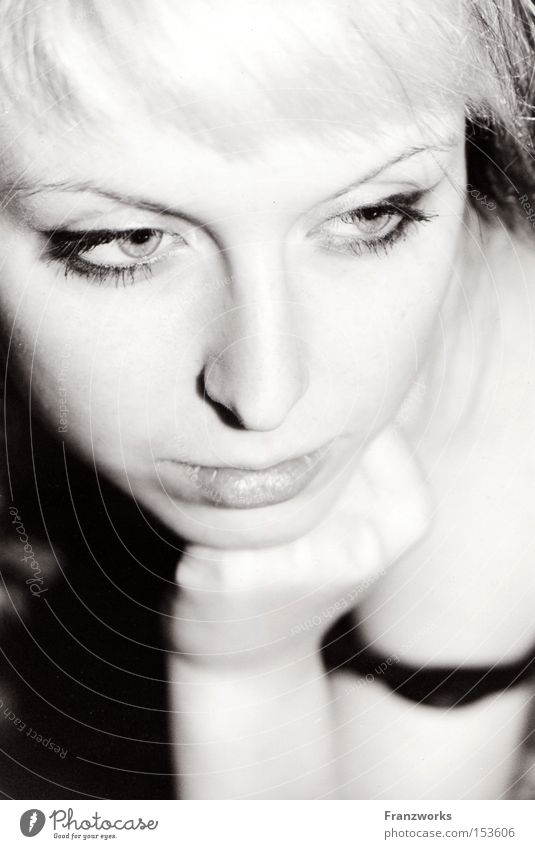 Procrastination. Woman Youth (Young adults) Beautiful Think Go under Thought Calm Black & white photo Portrait photograph Delicate Mysterious Alluring Sin