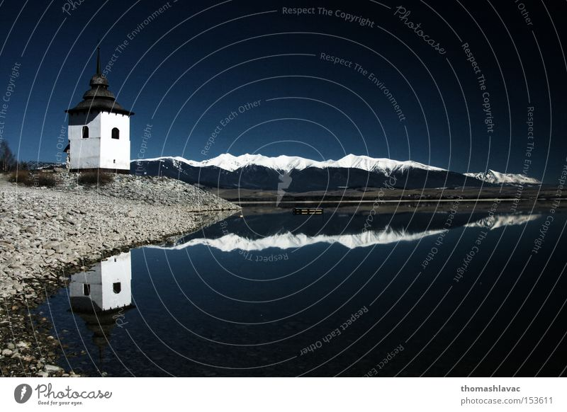 Lake Liptovska Mara 1 Retaining wall Water Reflection Tower Church Coast Sky Mountain House of worship Dam