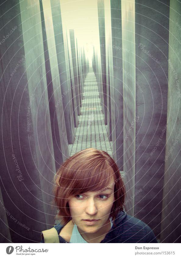 Woman Eyes Lanes & trails Berlin Landmark Monument Column Tunnel Face of a woman Remember Judaism Murder Mass murder Holocaust memorial Stele Face