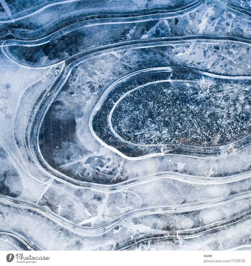 skating rink Winter Ice Frost Blue Circle Puddle Subsoil Crystal structure Blow Colour photo Subdued colour Exterior shot Structures and shapes Deserted Day