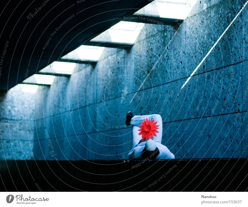 Human being White Flower Blue Red Cold Concrete Peace Lie Mask To hold on Tunnel Whimsical Comfortable Peaceful Beam of light