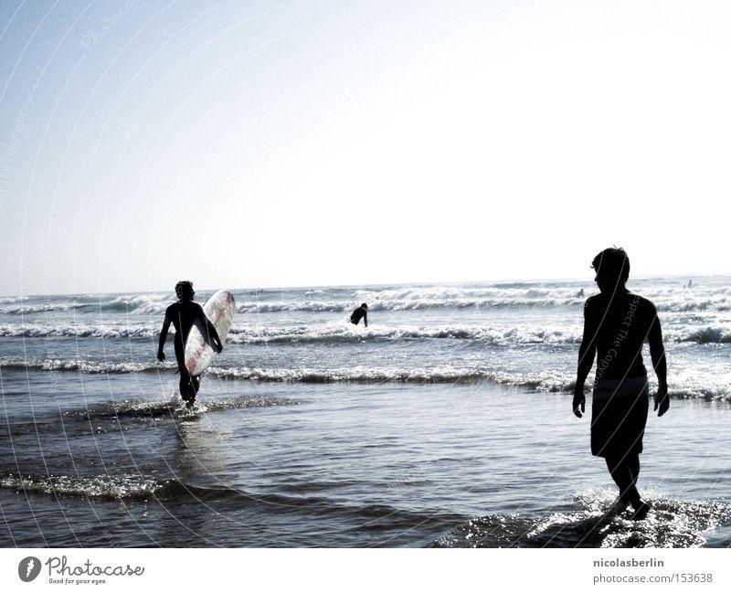 Human being Man Sky Ocean Blue Summer Joy Beach Friendship Waves Transience Surfing Portugal Aquatics Surfboard