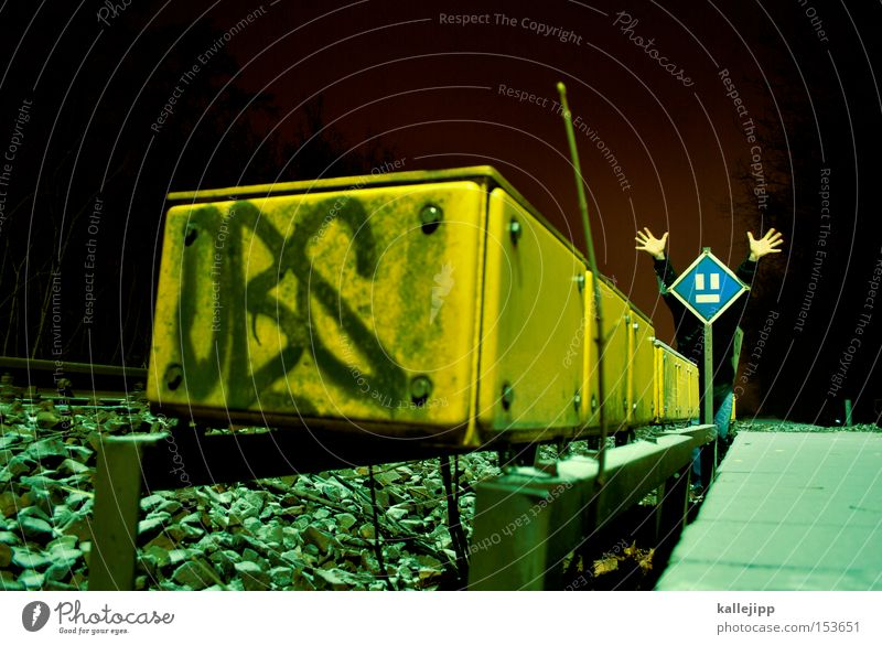 Signs and labeling Railroad Electricity Railroad tracks Ghosts & Spectres  Train station Comic Container Platform Frightening Signal Phenomenon
