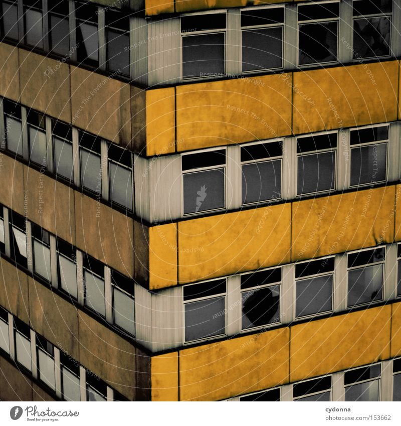 block Building Old fashioned Retro GDR Vacancy Time Transience Nostalgia Past Nostalgia for former East Germany Window Rotated Block Corner Concrete Derelict