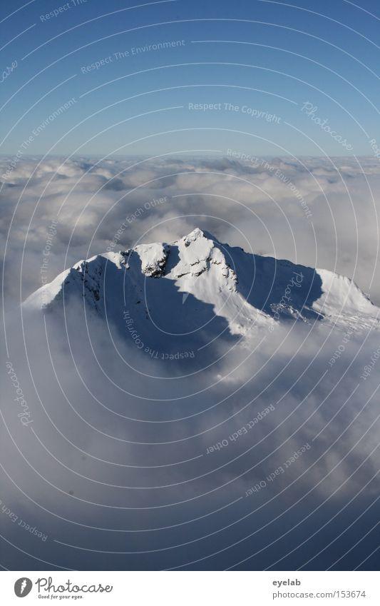 Sky Blue Winter Clouds Far-off places Snow Mountain Landscape Horizon Vantage point Alps Peak Valley Allgäu Bavaria